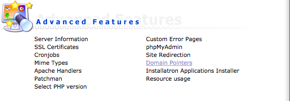 "Access ""Domain pointers"" under ""Advanced Features"" menu"
